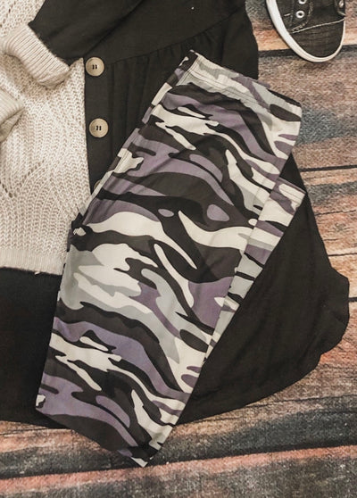 Grey Camo Legging One Size