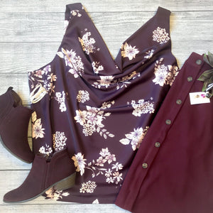 Plum Floral Draped Neck Top