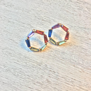 Open Ring Rainbow Earrings