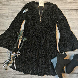 Black Velvet Burnout Dress