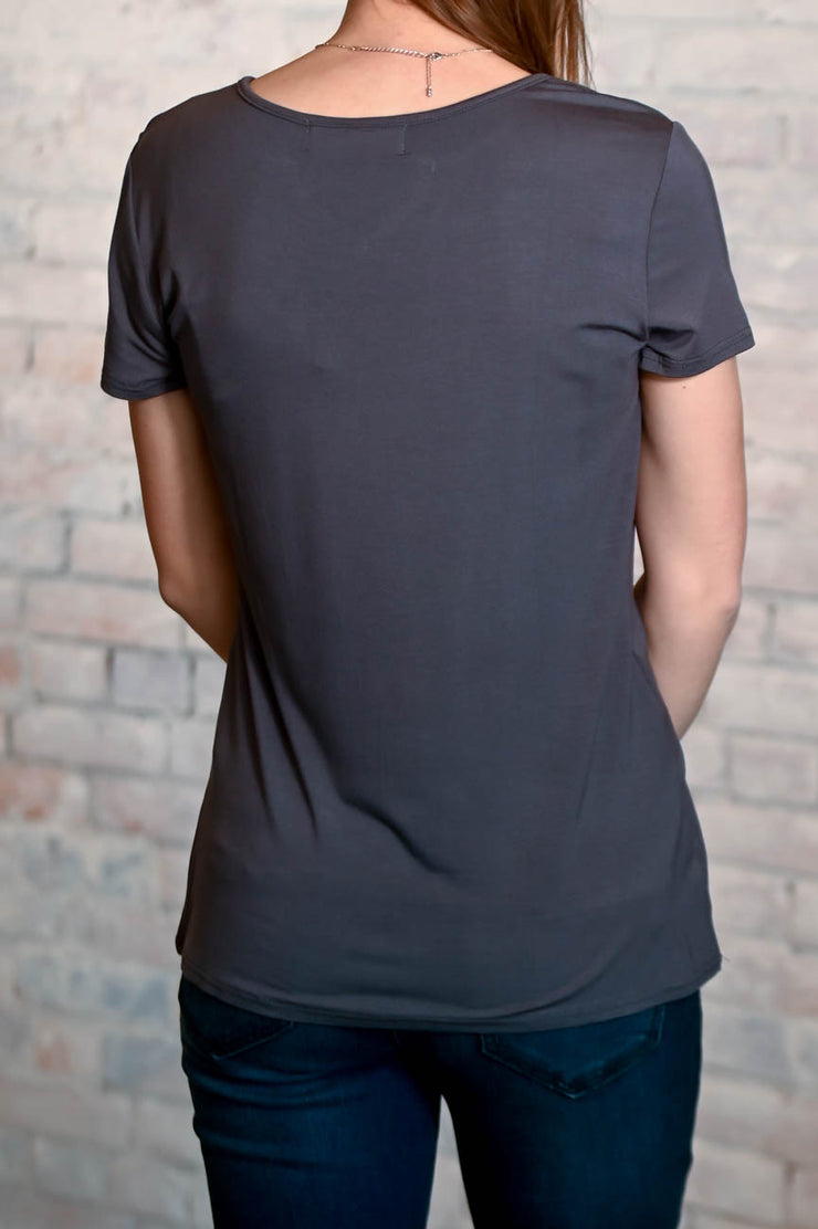 Slit V-Neck Pocket Tee S-2X