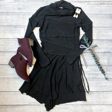 Knitted Black Cowl Dress
