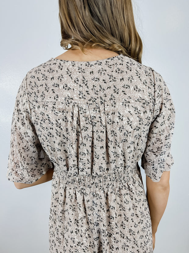 Taupe Floral Placket Button Maxi