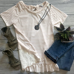 Stripe Eyelet Back Ruffle Top