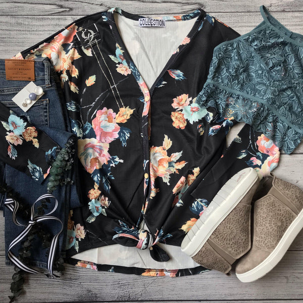 Black Floral Tie Top