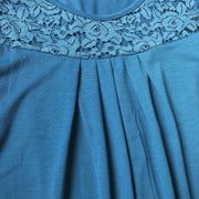 Peacock Blue Pleated Lace Top