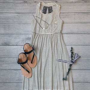 Striped Dress with Lace Back