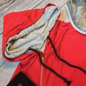 Red Athletic Stripe Hoodie