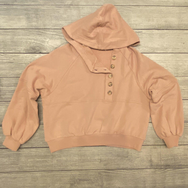 Cropped Button Hoodie