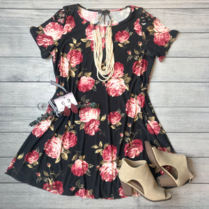 Black with Florals Dress