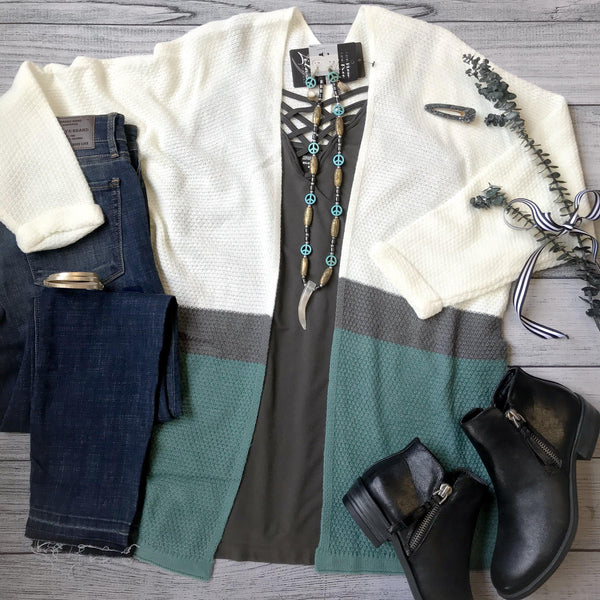 Ivory & Jade Color Block Cardigan