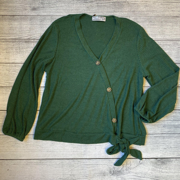 Hunter Green Front Wrap Top