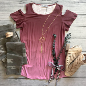 Magenta Ombre Cold Shoulder Top