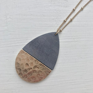 Gray Wood Hinge Teardrop Necklace