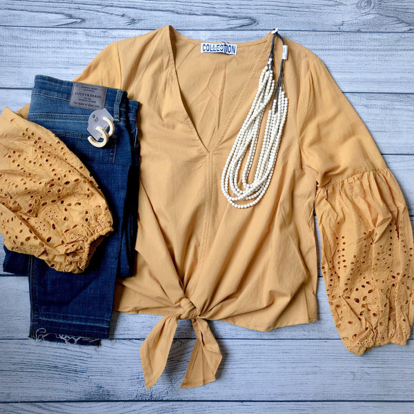 Mustard Eyelet Bubble Sleeve Top