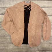 Pink Cable Knit Cardigan-Cardigan-Mooi Nu Collection-Small-9Lilas