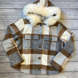 Plaid Fur Trim Jacket
