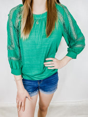 Kelly Green Crochet Lace Top