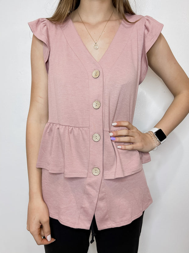 Mauve Ruffle Button Top