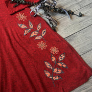 Red Floral Applique Dress
