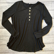 Shell Button Long Sleeve Top-Top-zenana-Small-Black-9Lilas