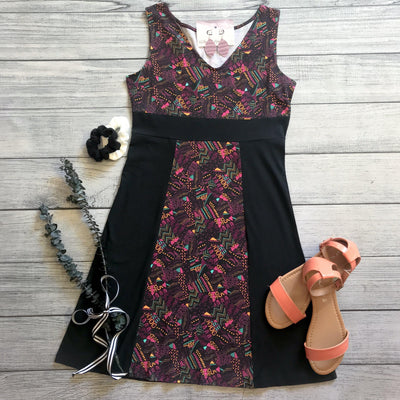 Fuchsia Printed Panel Dress
