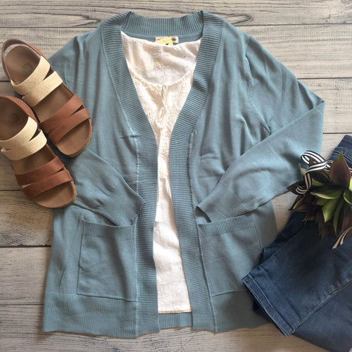 Lightweight Sweater Cardigan - Blue Grey