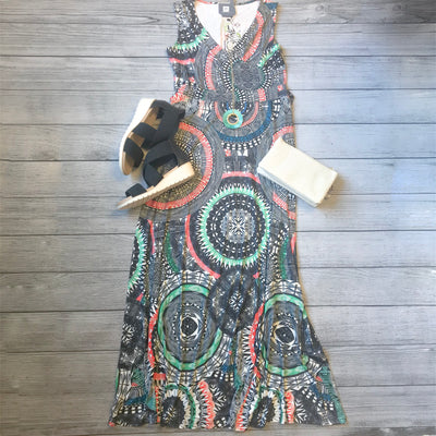 Aztec Medallion Maxi Dress