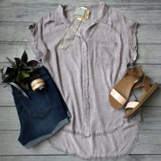 Frayed Hem Button Up