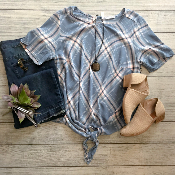 Scoop Neck Front Tie Blouse