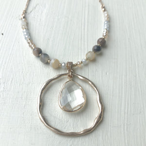 Natural Stone & Pendant Necklace