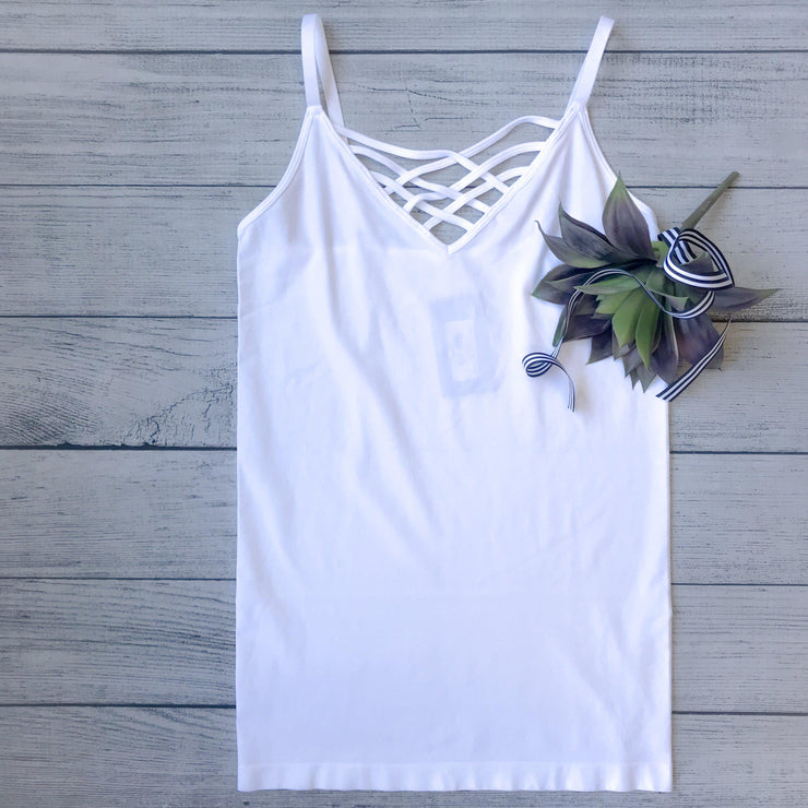 Lattice Front Cami-White