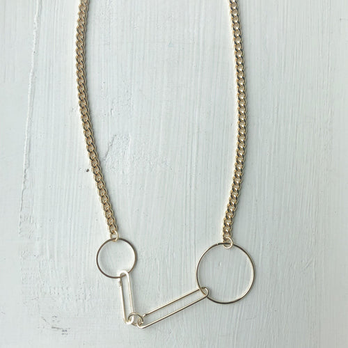 Double Ring Clip Necklace