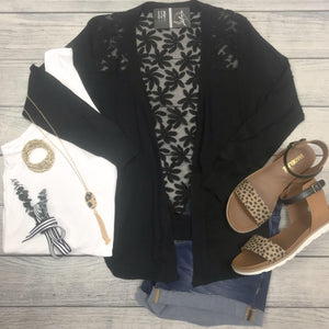 Black Lace Back Shrug