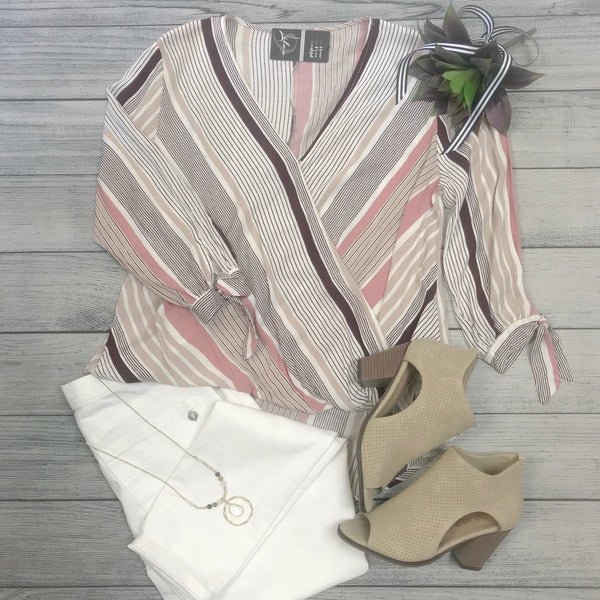 Wrap Front Striped Blouse
