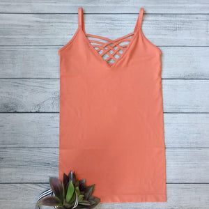 Lattice Front Cami-Orange