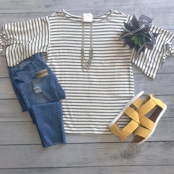 Striped Knit Tie Sleeve Top