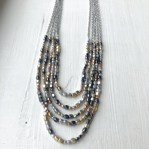 Ombre Metallic Tiered Necklace