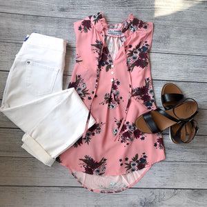 Pink Floral Ruffle Neck Top