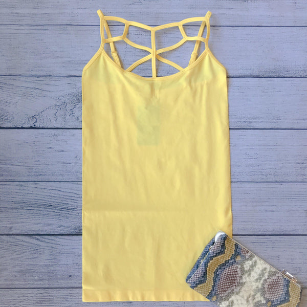 High Neck Lattice Tank- Yellow