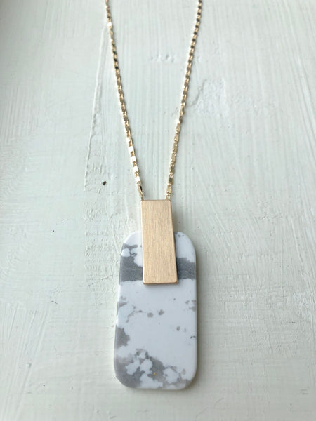 White Granite Pendant Necklace