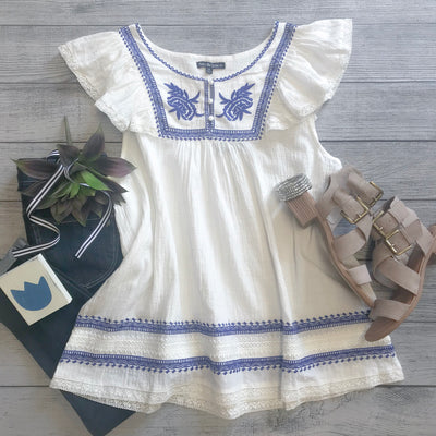 Delft Embroidered Top
