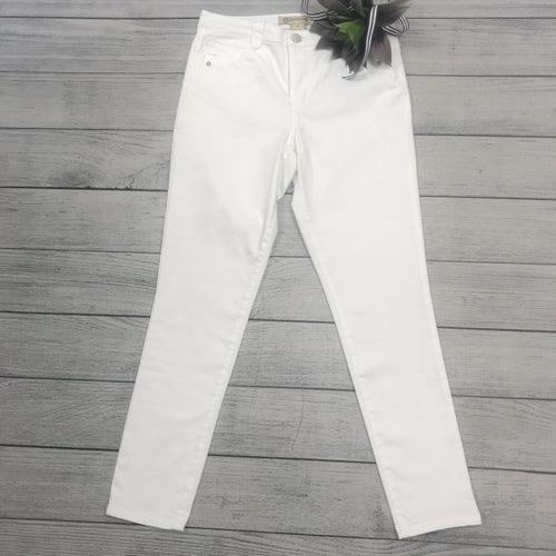 High Rise White Ankle Jean