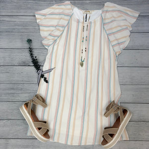 Flutter Sleeve Stripe Dress