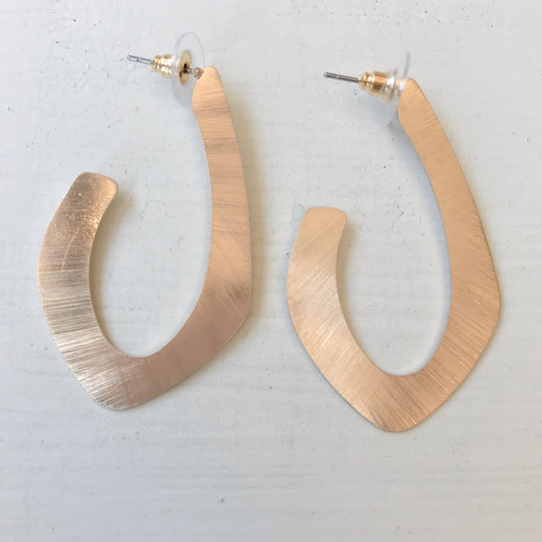 Gold Oblong Wide Hoop