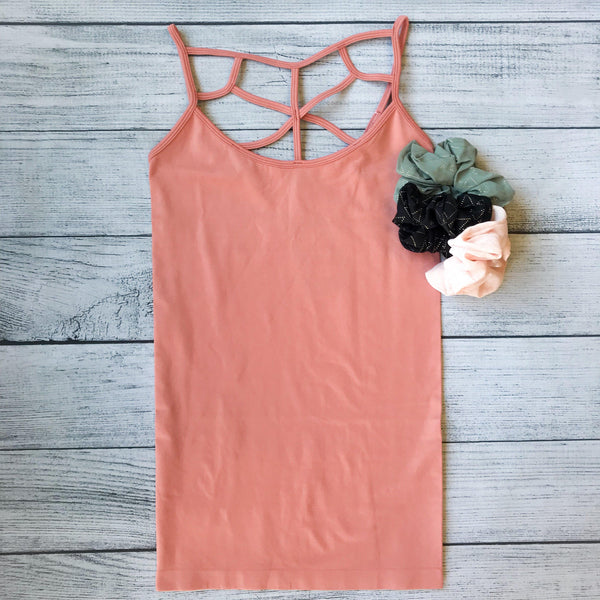 High Neck Lattice Tank- Ash Rose