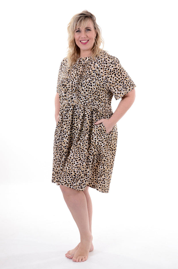 Leopard Print Midi Dress 1X-3X-L Love-9Lilas