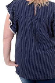 Navy and White Pin Stripe Embroidered Top 1X-3X-Top-9Lilas