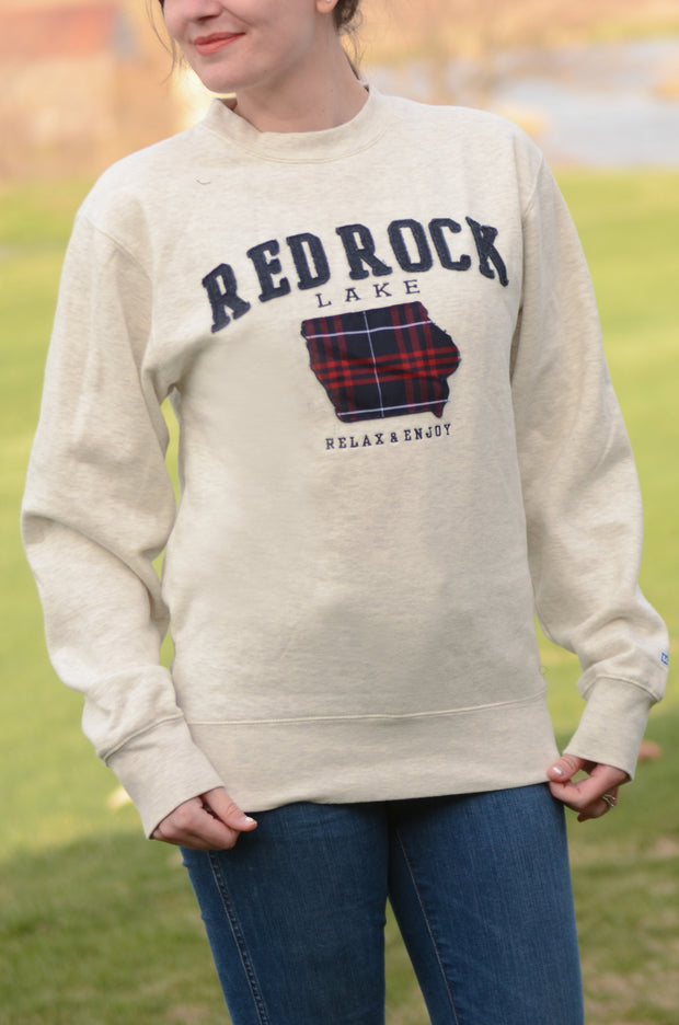 Plaid Applique Red Rock Sweatshirt-Blue 84-9Lilas