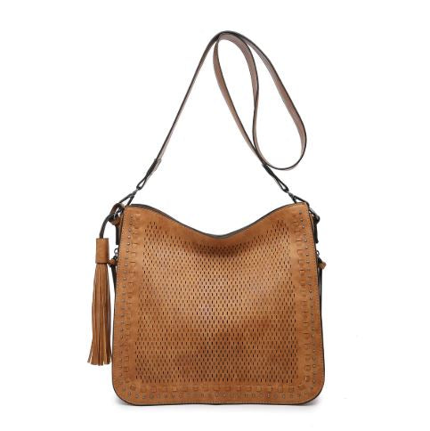 Camel Lasercut Studded Crossbody